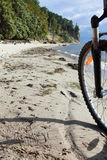 Bike on the beach. Silhouette of a bike on the beach, sea Stock Photo