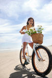 Bike beach babe Stock Images