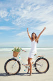Bike beach babe Royalty Free Stock Image
