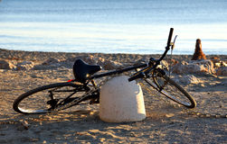 Bike on beach Stock Photo
