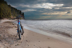 Bike on the beach Gdynia, Orłowo Poland Royalty Free Stock Photos