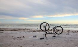 Bike on the beach. Upside down bike on the beach - Crescent Beach, Siesta Key Stock Photo