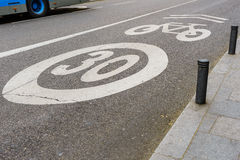 Bike and Bicycle lanes speed limit over 30 mph Stock Photo