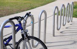 A bike at  bike rack Royalty Free Stock Images