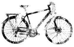 Bike black grunge template on white background isolated. Children`s transport. Drawing on rough wall. Old worn texture. Stylish image for a variety of design Stock Photo
