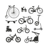 Bike black silhouette mountain, ride, transportation sport race vector. Stock Photo