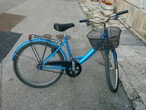 Bike. Blue bike with basket Royalty Free Stock Photo