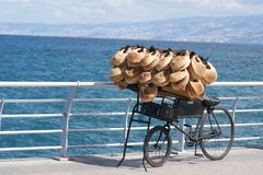 Bike with bread on the Beirut, Lebanon waterfront Stock Photos