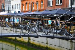 A bike on the bridge in  Aarhus city Stock Images