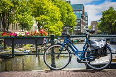 Bike on the bridge in Amsterdam, Netherlands Royalty Free Stock Images