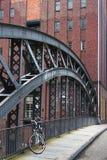A bike on a bridge in hamburg Stock Image