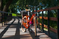 Bike on the bridge in the summer park stock image