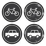 Bike and car retro label Stock Images