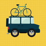 Bike and 4x4 car. Bike on the roof of 4x4 car. Yellow background royalty free illustration