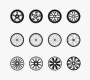 Bike car and wooden wheels. Bike wheels, car wheels and wooden wheels. Round and transportation,  automobile equipment, vector illustration Stock Images