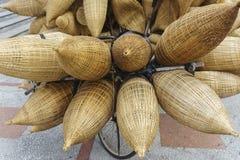 Bike carry bamboo baskets Stock Photo