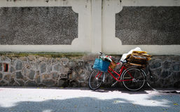 A bike carrying heavy goods on street in Hoian, Vietnam Royalty Free Stock Image