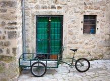 Bike-cart in yard, old town of Kotor, Montenegro Stock Images