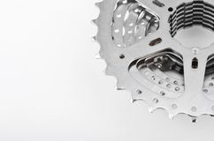 Bike cassette gears. Close-up on white background Stock Image