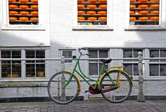 Bike and cheese in town Delft - symbol of Netherlands Stock Photos