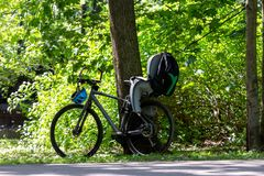 Bike with a child seat by the tree in the park. Bicycle with a child seat and a backpack over the rear wheel in a park near a green tree. Active holiday with a stock photo