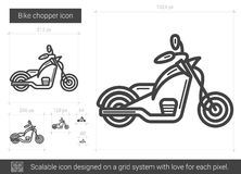 Bike chopper line icon. Bike chopper vector line icon isolated on white background. Bike chopper line icon for infographic, website or app. Scalable icon Stock Photos