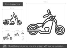 Bike chopper line icon. Bike chopper vector line icon isolated on white background. Bike chopper line icon for infographic, website or app. Scalable icon Royalty Free Stock Photos