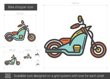 Bike chopper line icon. Bike chopper vector line icon isolated on white background. Bike chopper line icon for infographic, website or app. Scalable icon Stock Photography