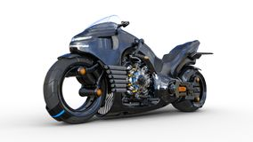Bike with chrome engine, black futuristic motorcycle isolated on white background, 3D render. Ing royalty free illustration