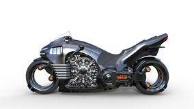 Bike with chrome engine, black futuristic motorcycle isolated on white background, side view, 3D render. Ing royalty free illustration