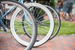 Bike for city driving. Many city bike stand in a row in the house Stock Photo