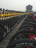 Bike city. Rows of bikes lines along the top of the city wall of Xian Stock Photo