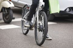 Bike in the city. Urban traffic. Healthy activity. No pollution royalty free stock image