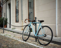 Bike on coblestone streets of Vienna in Austria Stock Images