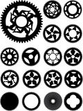 Bike cogs. Collection of 17 different bike cogs shapes Stock Photos