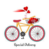 Bike colored wheels basket of hearts Stock Photos