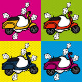 Bike comics icons Stock Image
