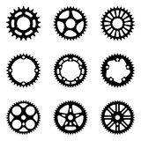 Set of sprocket wheels. Bicycle parts. Silhouette vector. Bike components of chain drives. Vector illustration royalty free illustration