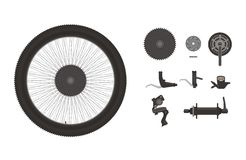 Bike components icon set. Contains simple illustration of various bike components Stock Image