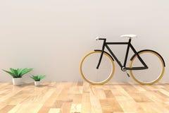 Bike con el houseplant en el cuarto vacío en la representación 3D Fotos de archivo libres de regalías