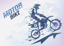 Bike con le stecche del triangolo, fondo stilizzato motocross Fotografia Stock