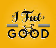Bike concept bicycle retro poster feel good. I feel good text quote, motivation bike concept poster design with retro font and bicycle outline silhouette. EPS10 royalty free illustration