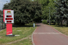 Bike Counter installed by the bike path in Gdansk, Poland Stock Images