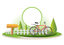 Bike in country illustration Stock Photos