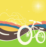 Bike on country road illustration. Royalty Free Stock Image