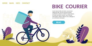 Bike Courier. Demand for Speed Courier Services stock illustration
