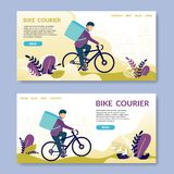 Bike Courier.Read. Happy young man electric bike stock illustration