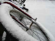 Bike covered with snow Royalty Free Stock Image