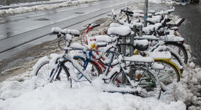 Bike covered with snow Stock Images