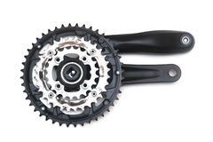 Bike crankset and chainring isolated Stock Image